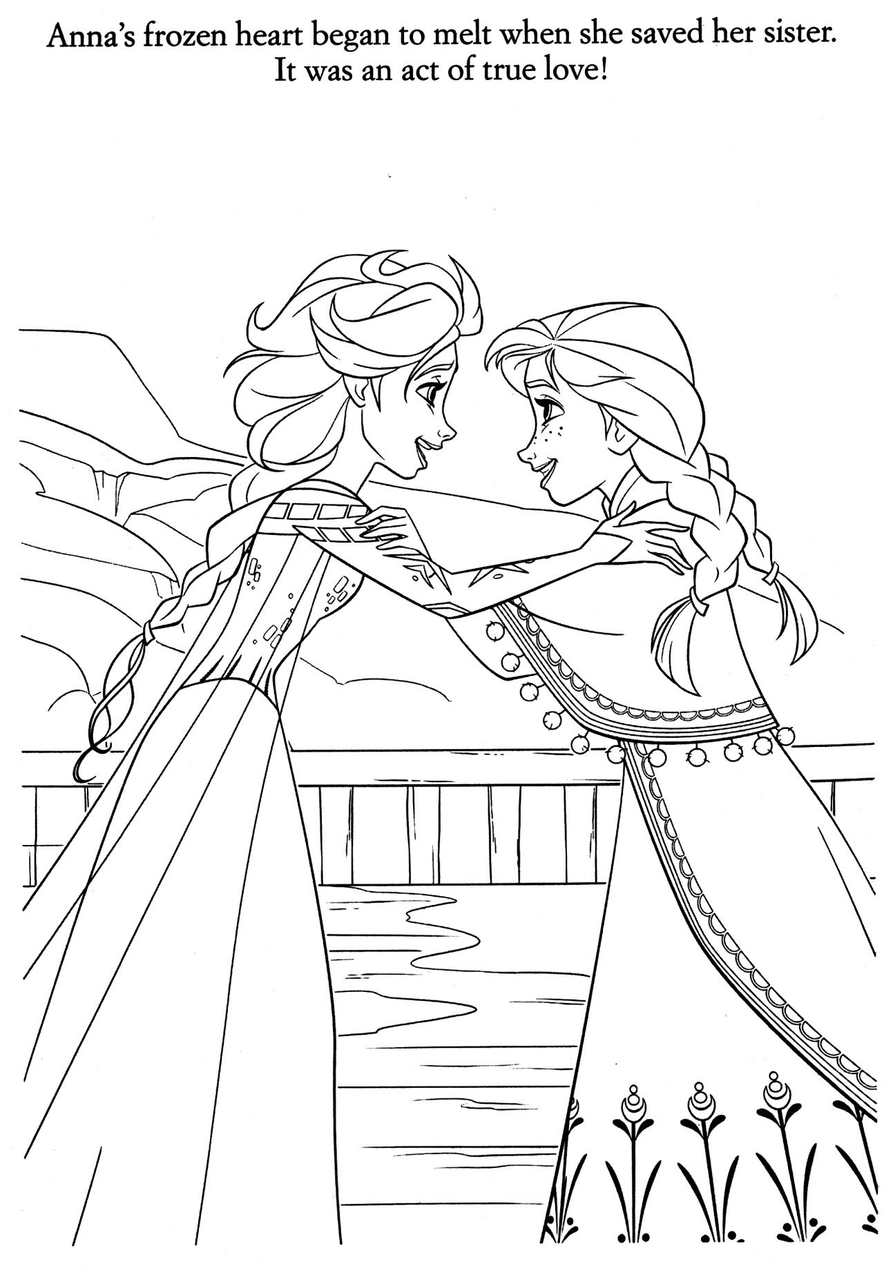 Elsa and Anna coloring page (Frozen).