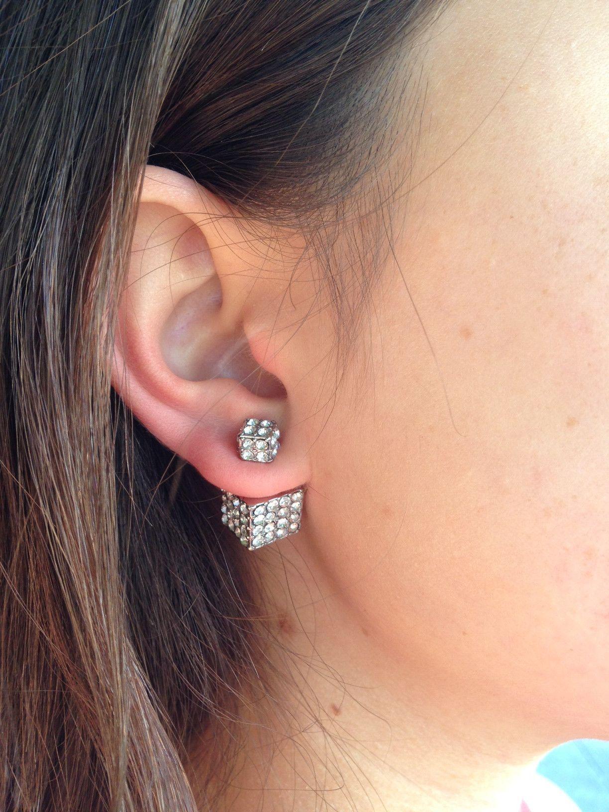 b7eee6c09a601 Double-Sided Cube Earrings (Silver) | Little Bling Things | Earrings ...