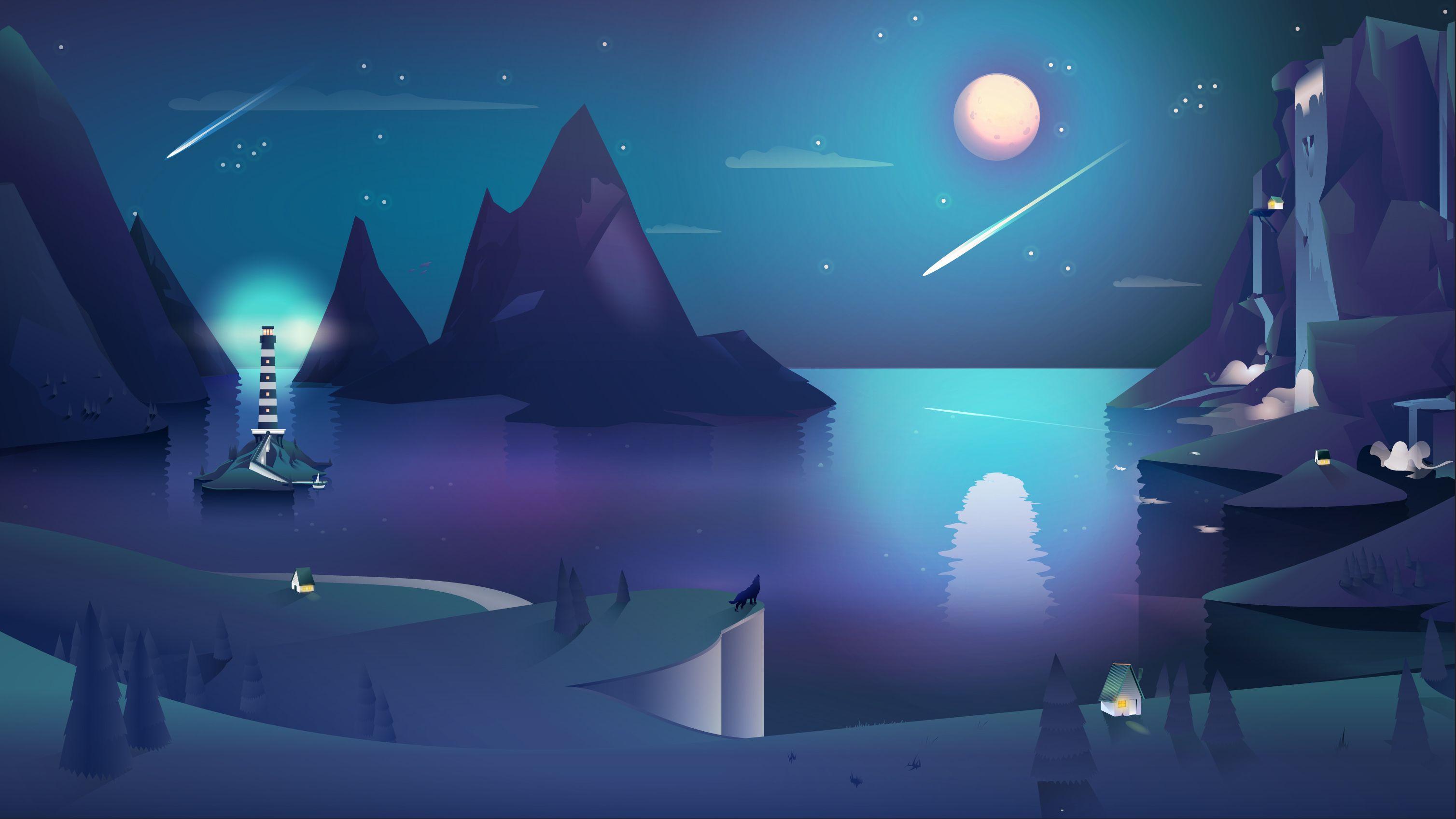 Summer Night Game Background Art Landscape Illustration Dusk