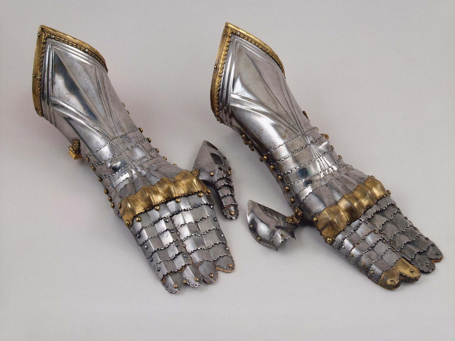 Gauntlets, Place of creation: Germany Date: Between 1470 and 1480 School: Nuremberg Material: steel and copper. Make your own from duct tape www.warfarebyducttape.com