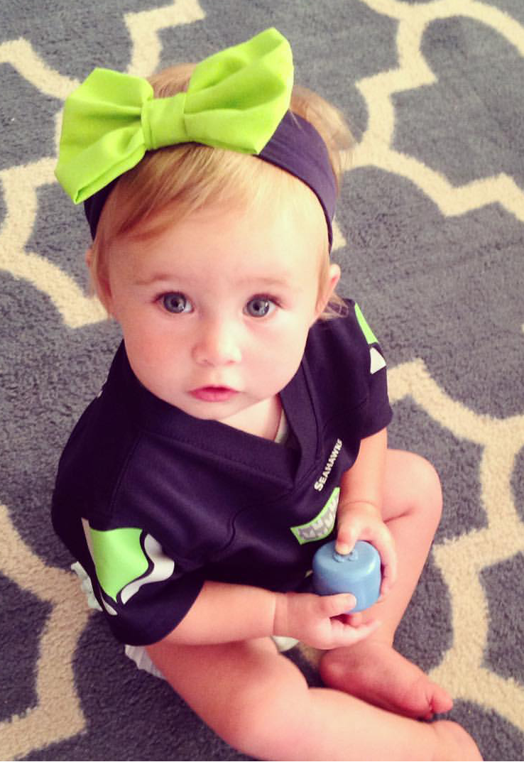 Too Cute and Sporty!!! NEW Blue and Green Cotton Stretch Seattle Seahawk 12th Baby Headband-