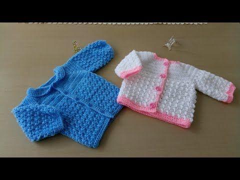 Como hacer en crochet o ganchillo dos modelos de chaquetitas, en ...