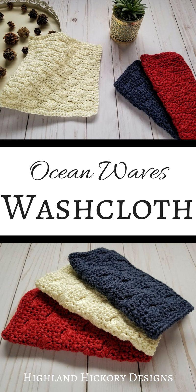 Ocean Waves Washcloth - Free Crochet Pattern - Highland Hickory ...