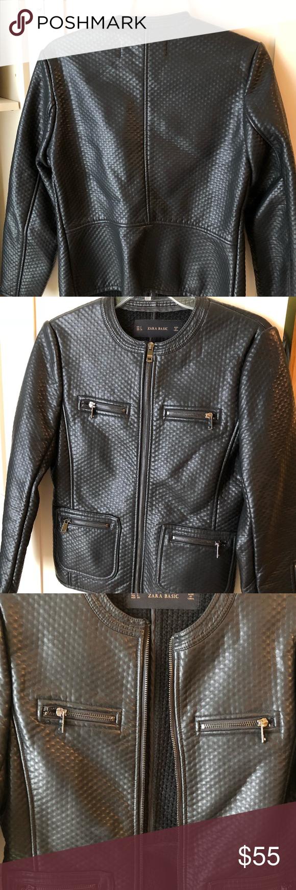 Zara Black Faux Leather Jacket Black jacket from Zara