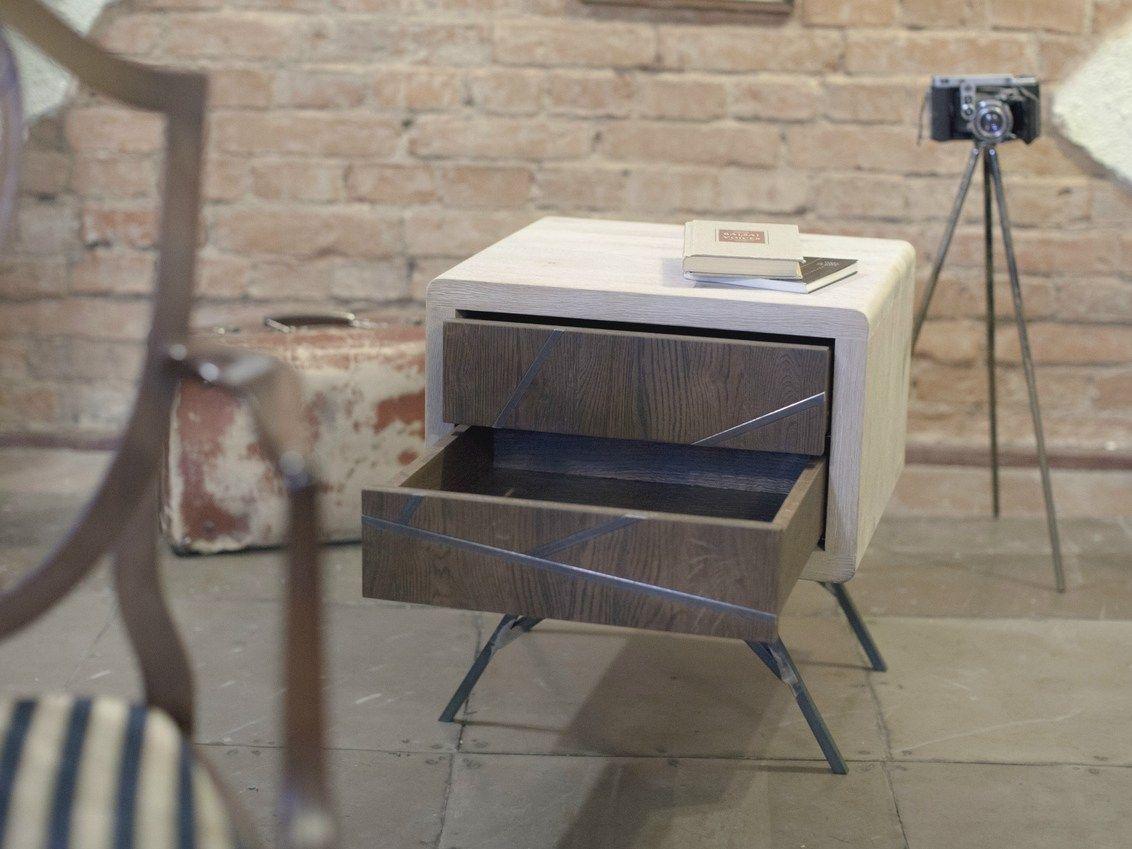 Comodino rettangolare in legno con cassetti MILO by Emodi