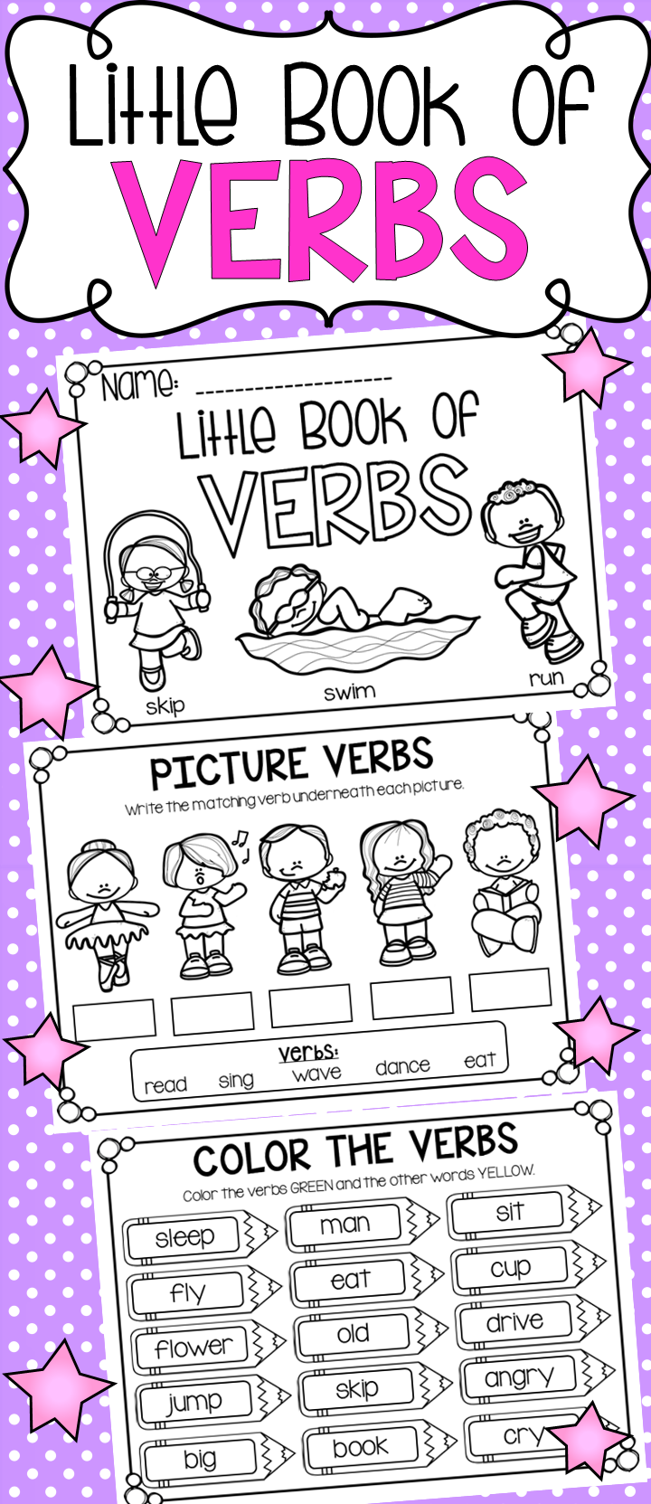 Little Book of Verbs - Half Page Printable Worksheet Booklet
