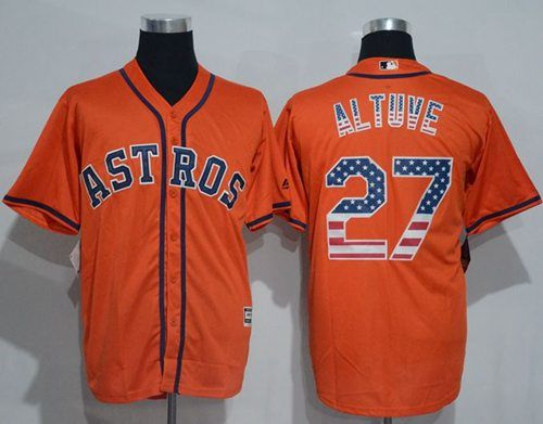 designer fashion e721f 736d3 Astros #27 Jose Altuve Orange USA Flag Fashion Stitched MLB ...