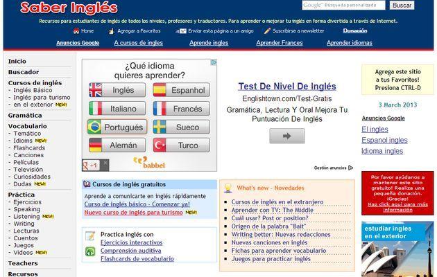 Saber Inglés, cursos y recursos gratuitos para aprender o perfeccionar tu inglés
