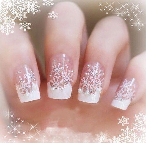 White Snowflake Nails Nails Nail Art Nail Ideas Nail Designs