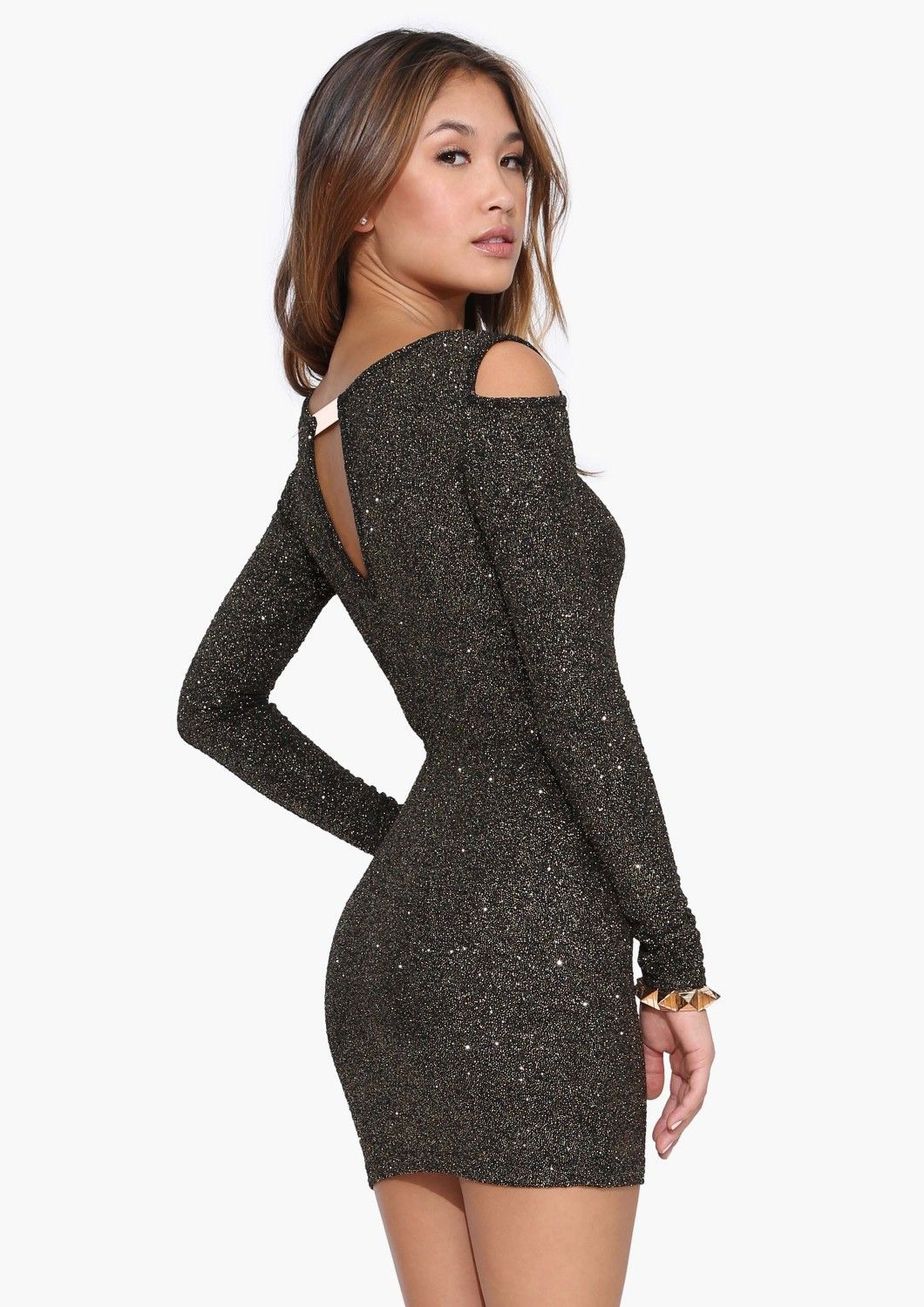 So perfect for NYE! Cold Shoulder Glitter Dress in Gold | Necessary Clothing