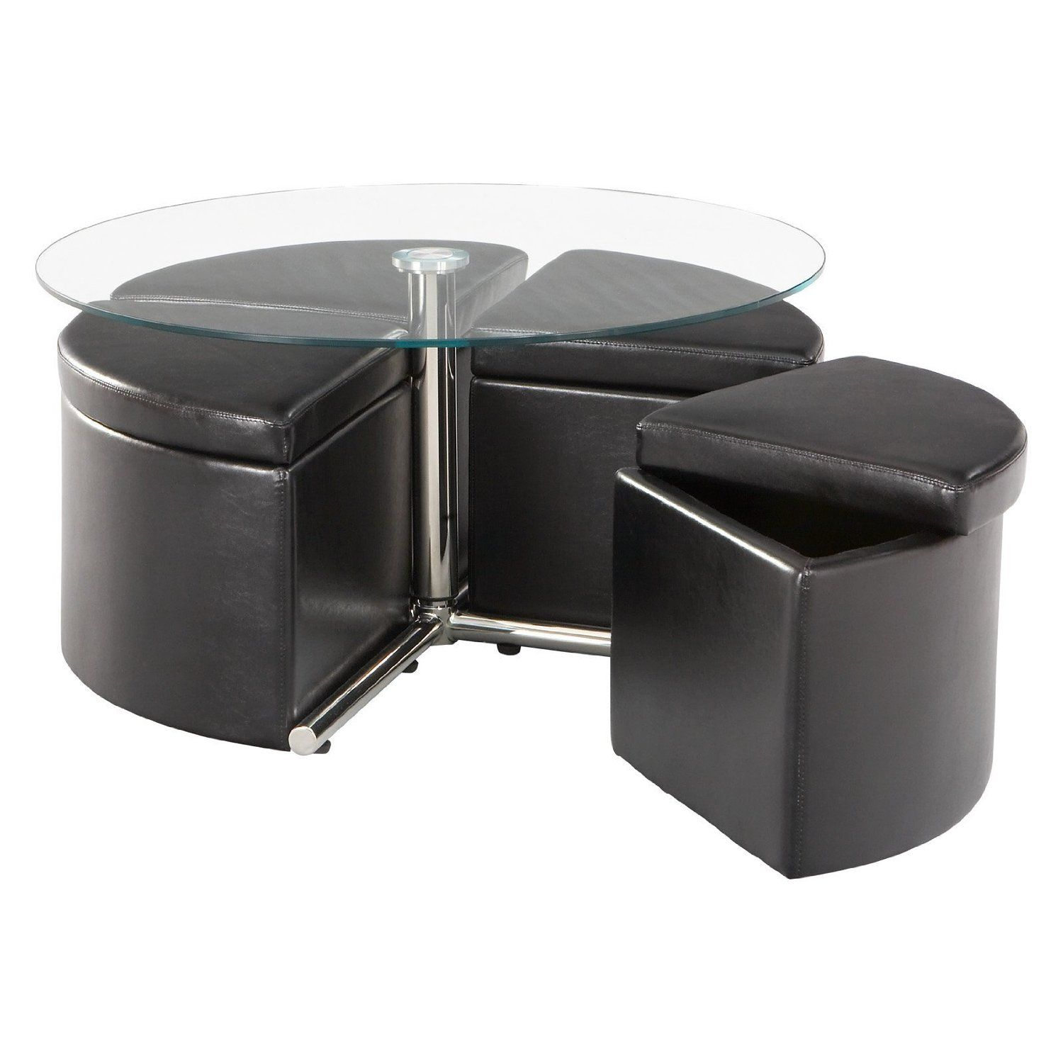 Coffee Table Ottoman With Seating Adjustable Height Round