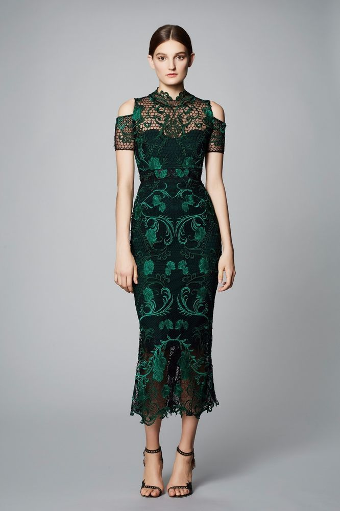 90fef235d NWT Marchesa Notte Green Guipure Lace Tea Dress #MarchesaNotte  #SheathTeaDress #Cocktail