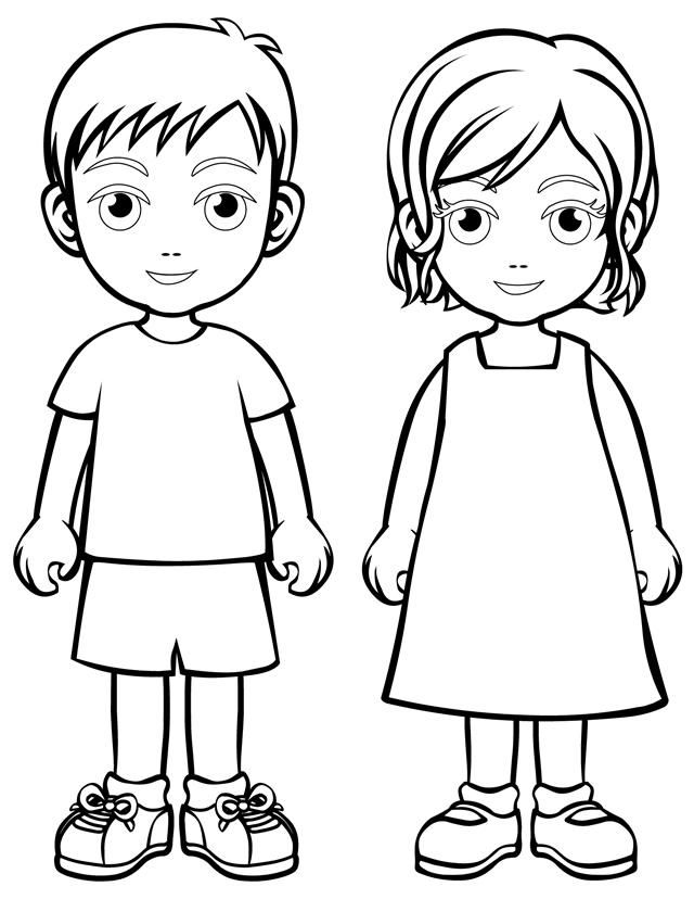 Boy and girl coloring page … | Pinteres…