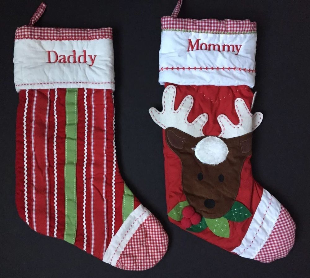 Pottery barn kids red quilted christmas stockings daddy