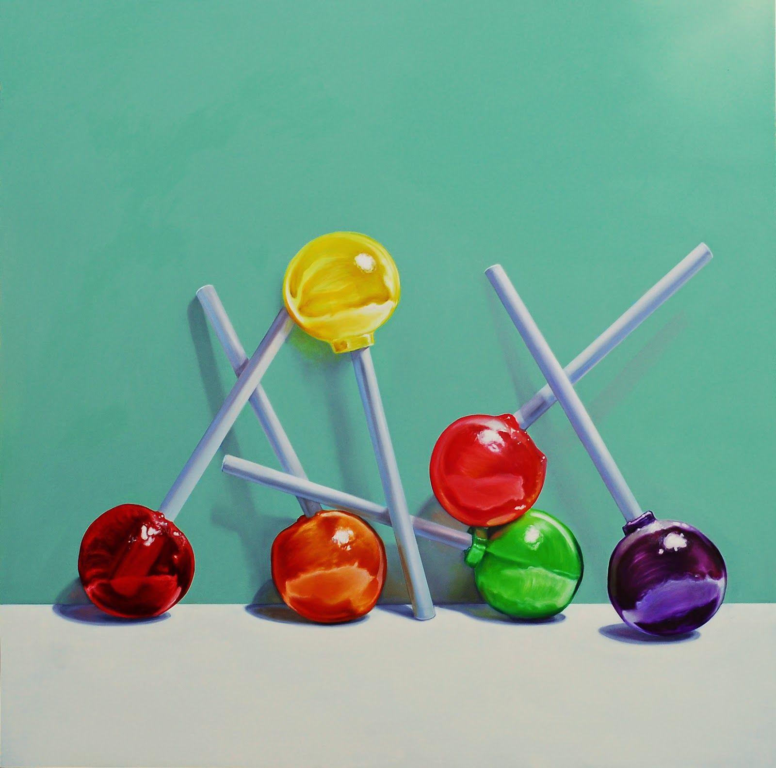 Lollipop painting, still life, original candy painting jeanne vadeboncoeur