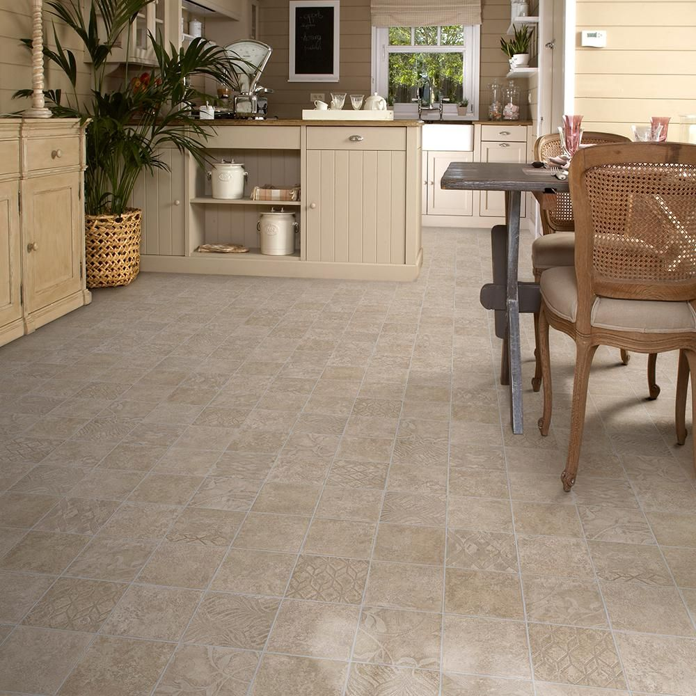TrafficMASTER Marbella Tile Neutral 13.2 ft. Wide x Your Choice Length Residential Vinyl Sheet Flooring
