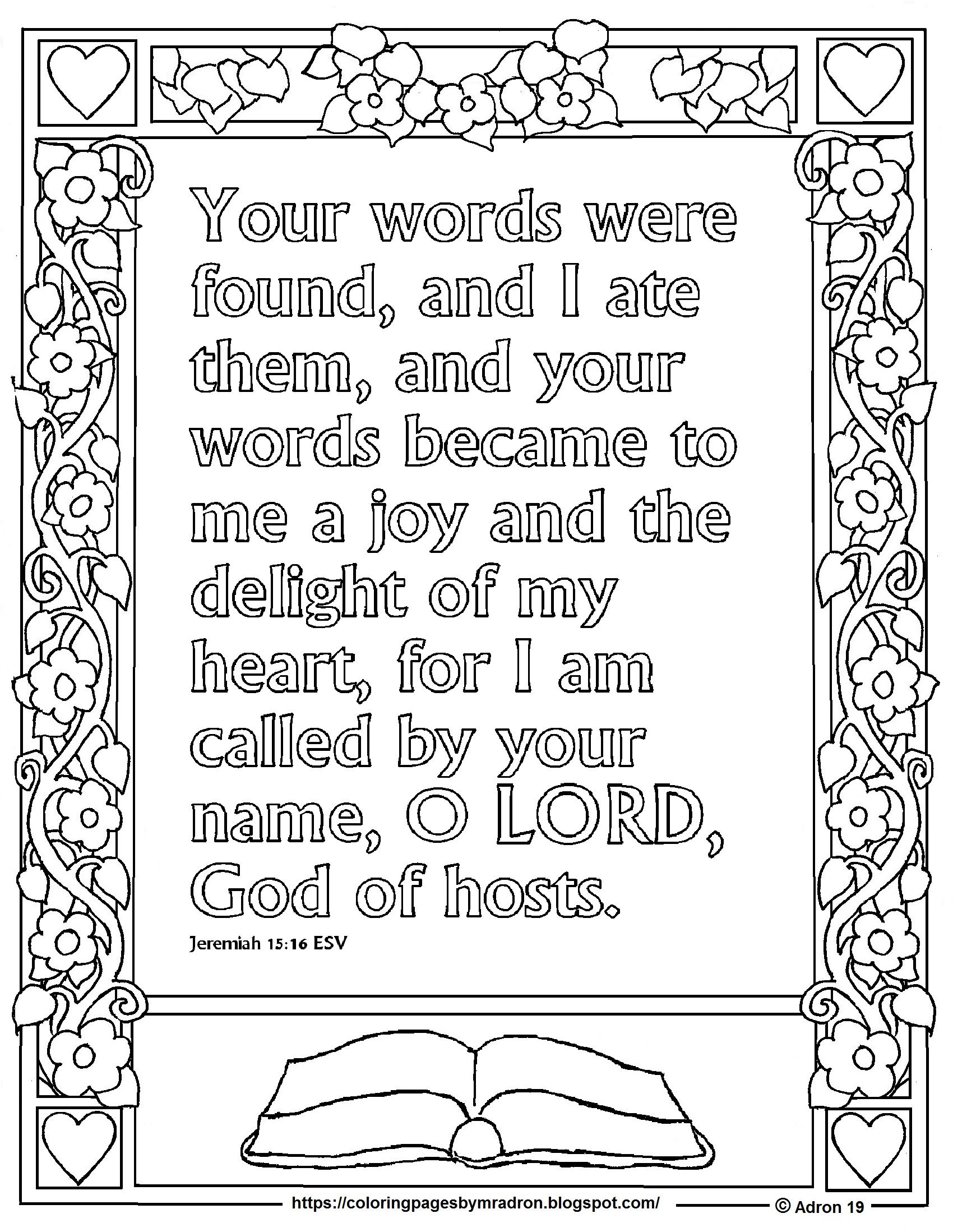 Print And Color Page For Jeremiah 15 16 Your Words Were Found Bible Verse Bible Verse Coloring Page Bible Verse Coloring Bible Coloring Pages