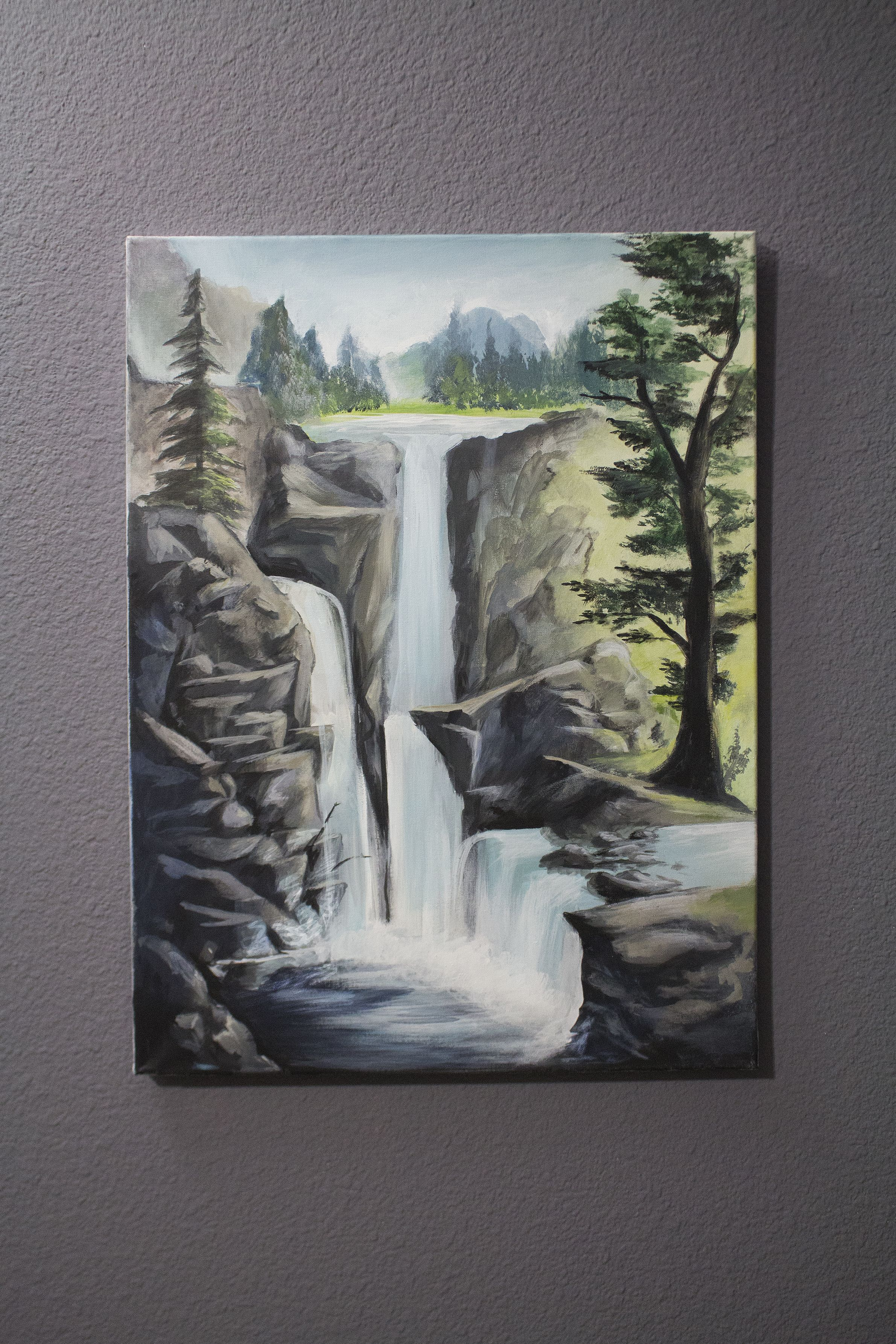 Original landscape painting  on canvas, with acrylic