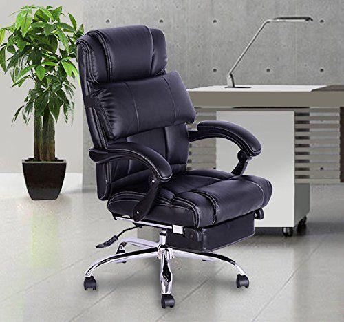 Chaise De Bureau Luxe Fauteuil Ordinateur Manager Pivotant Inclinable Hauteur Incliable Avec Pedale Pu Epaisseur D Eponge 7 Cm 99l X 75i X Furniture Chair Home