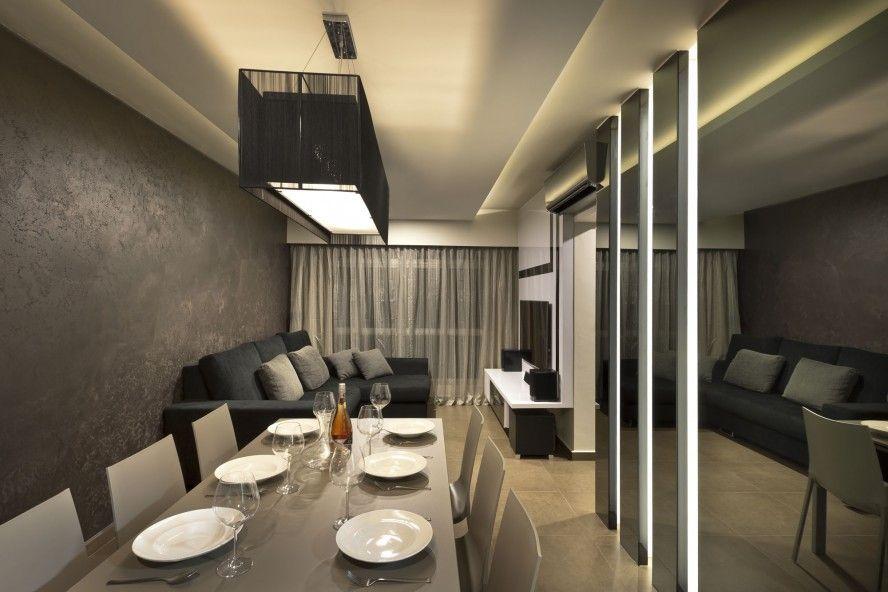 Narrow Open Floor Plan Dining Room Nad Living Room In Minimlist Alluring Contemporary Modern Living Room Inspiration Design