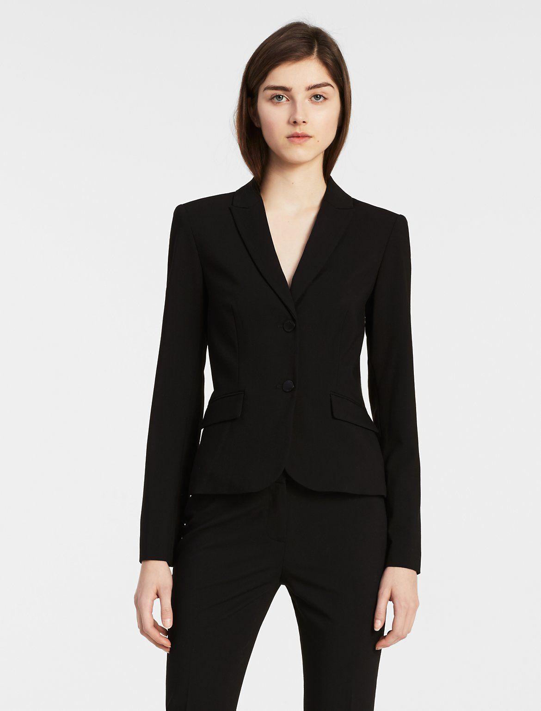 Two Button Black Suit Jacket Calvin Klein In 2021 Black Suit Jacket Black Suits Blazer Outfits [ 1541 x 1170 Pixel ]