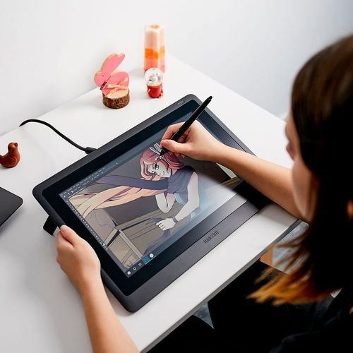 Draw accurate illustrations with this 15.6-inch Wacom Cintiq creative pen display. The 1920 x1080 Full HD anti-glare screen makes for comfortable viewing, and the pressure-sensitive pen has a comfortable grip and tilt recognition for accurate drawing. The foldable legs on this Wacom Cintiq creative pen display can be adjusted for personal comfort.