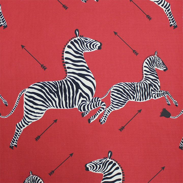 The English Room Blog / Fall 2013 Scalamandre Collection / Zebras in Red Outdoor fabric
