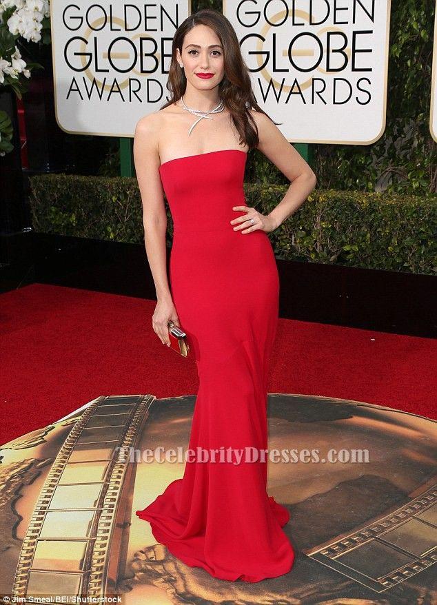 Emmy Rossum Red Formal Dress Golden Globes 2016 Red Carpet