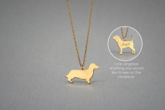 14K Solid GOLD Tiny DACHSHUND LONGHAIRED Name Necklace - Doxie Necklace -Gold Dog Necklace - 14K Gold or Rose Plated on 14k Gold Necklace