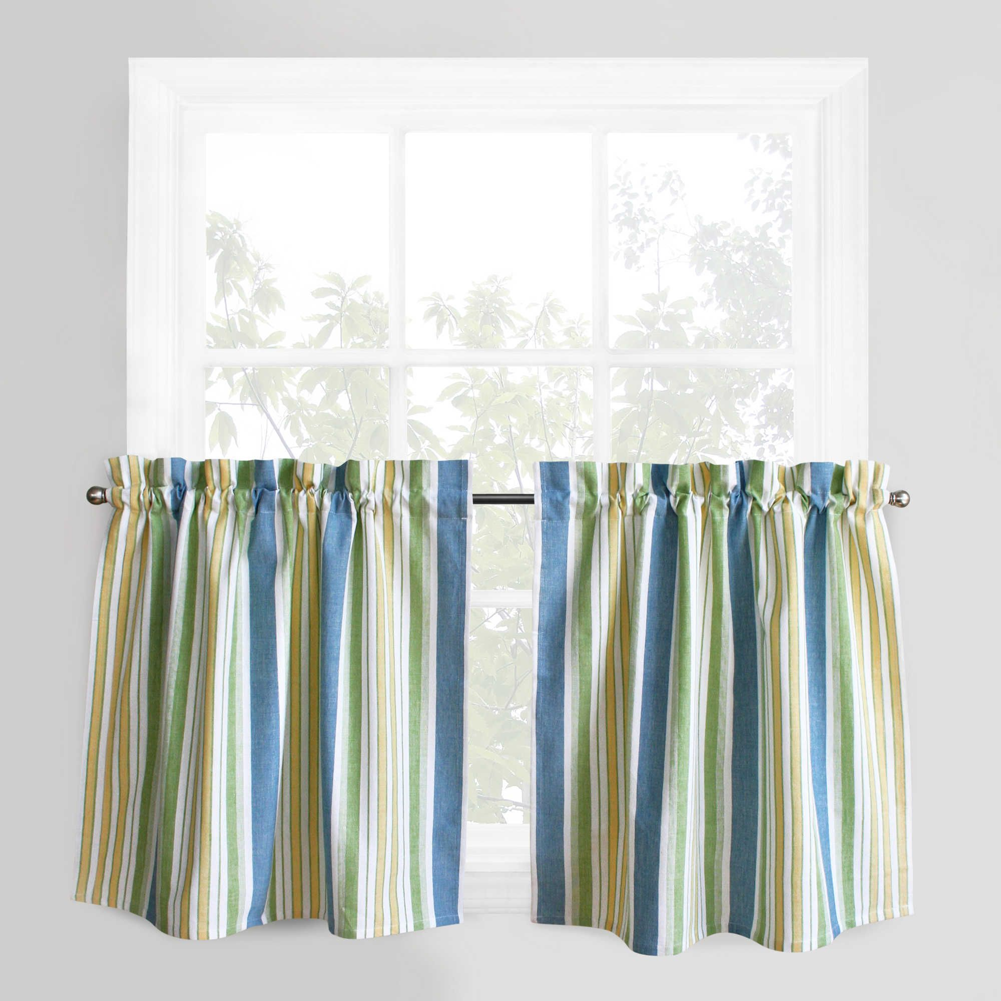 Park B. Smith Cape Cod Stripe 36 Inch Window Curtain Tier Pair In Blue