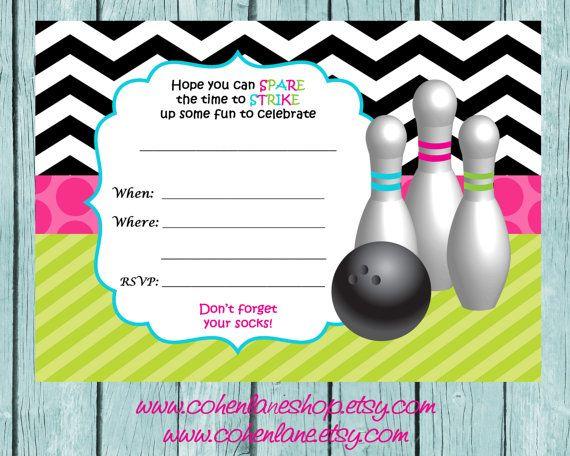 Instant Download Fill In Chevron Bowling Invitation Fill In
