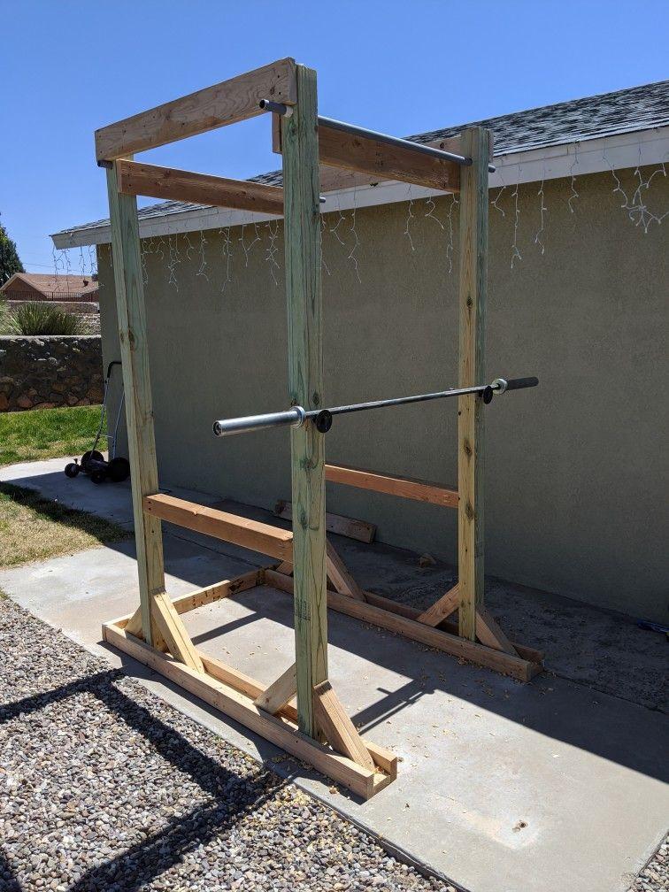 Pull up bar, squat rack in 2020 | Backyard gym, Squat rack ...