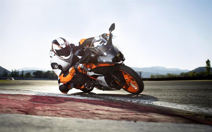 Download Wallpapers Ktm Rc 390 4k 2018 Bikes Sportbikes Rider