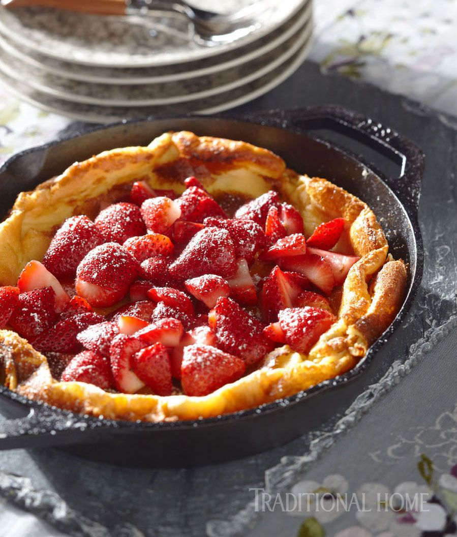 A Dutch Baby Pancake served with Strawberries makes an excellent dessert—or try it for breakfast! - Photo: Peter Krumhardt