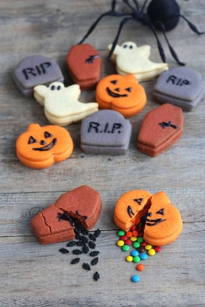 Now these cookies from Not Martha are just genius – they actually contain a trick or a treat! Use Halloween themed cookie cutters to cut your dough and make these stuffed cookies. Whether you get a trick or a treat depends on your luck!
