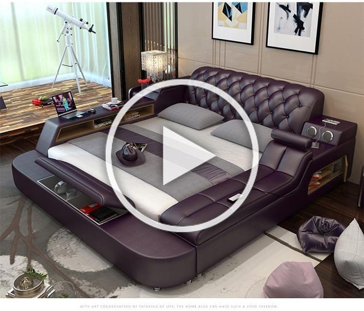 Genuine Leather Bed Frame Soft Beds Inbuilt Massager Storage