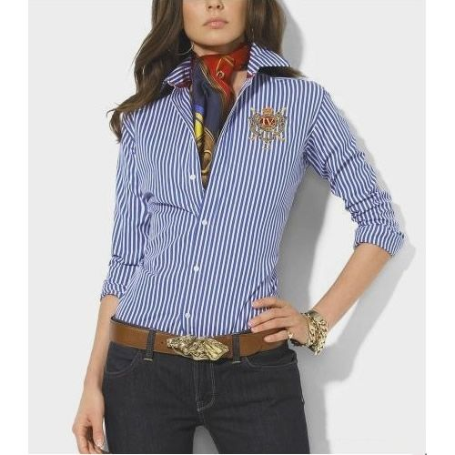 Cheap Ralph Lauren Women's Striped Embroidered Crest Shirt Blue
