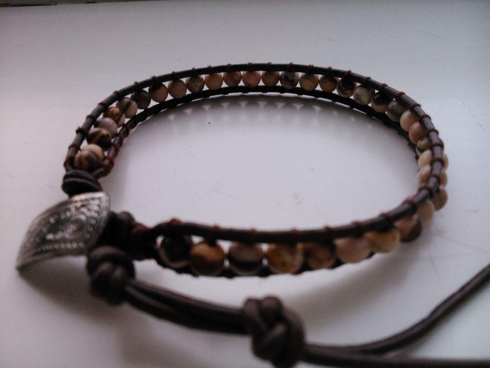 Handcrafted Leather & Gemstone Single Wrap Bracelet - Dalmatian Jasper