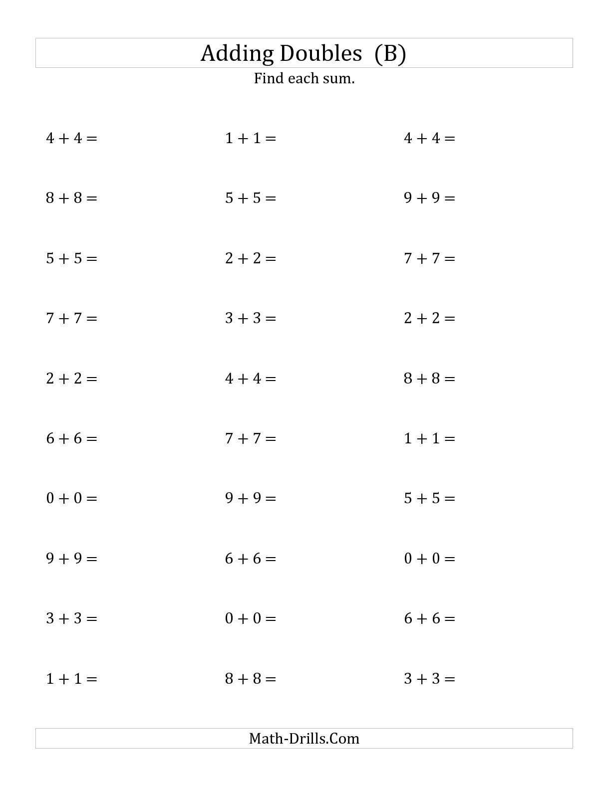 The Adding Doubles Small Numbers B Math Worksheet From The Addition Worksheet Page At Math Drills Co Math Fact Worksheets Integers Worksheet Math Worksheet
