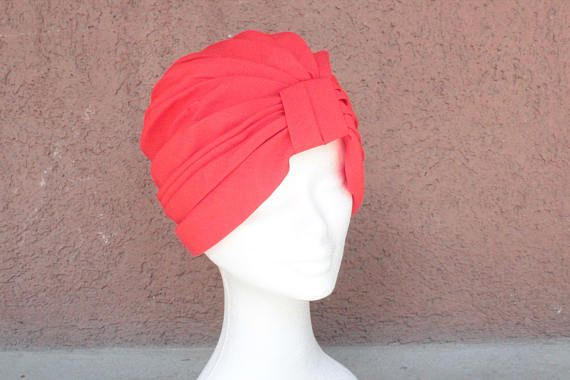 1960's Red Turban Hat 1171