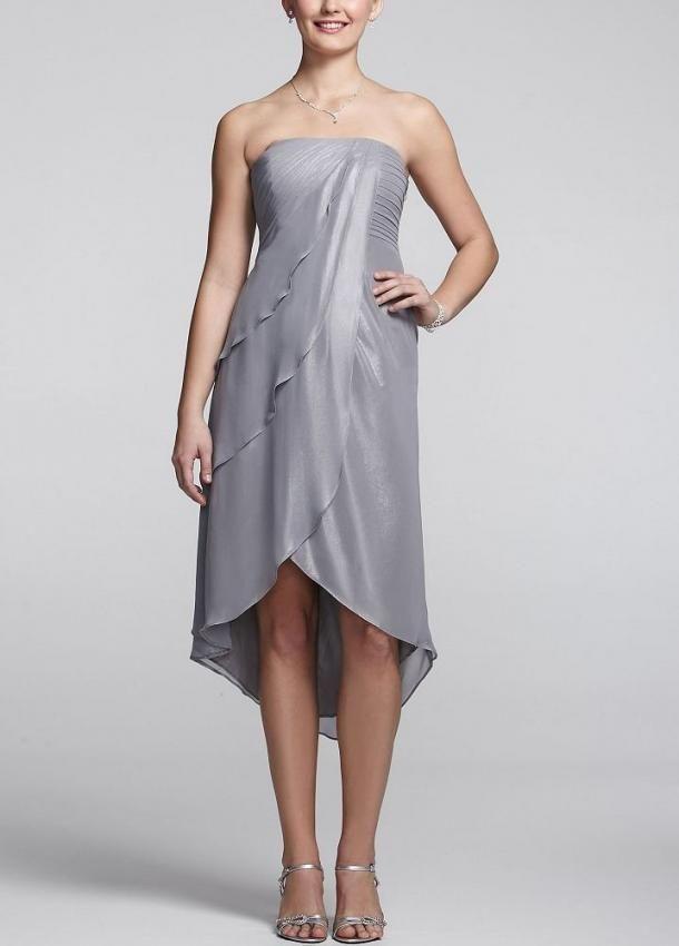 Amazon - David's Bridal Women's Metallic Chiffon High Low Tiered Dress