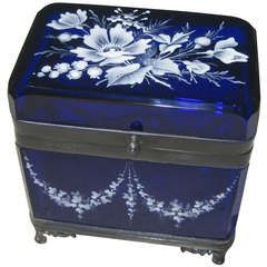 Enameled Cobalt Blue Glass Jewel Casket Box