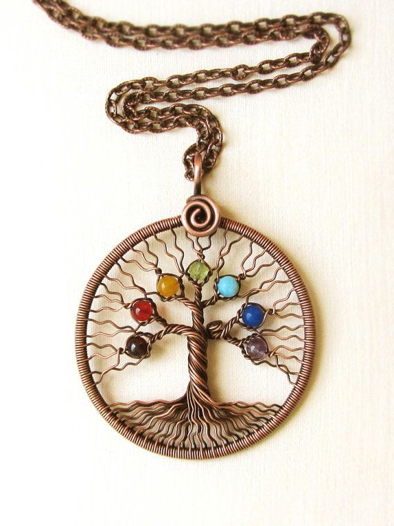 Chakra pendant yoga necklace tree of life pendant copper wire chakra pendant yoga necklace tree of life pendant copper wire family tree rainbow pendant universal mozeypictures Image collections