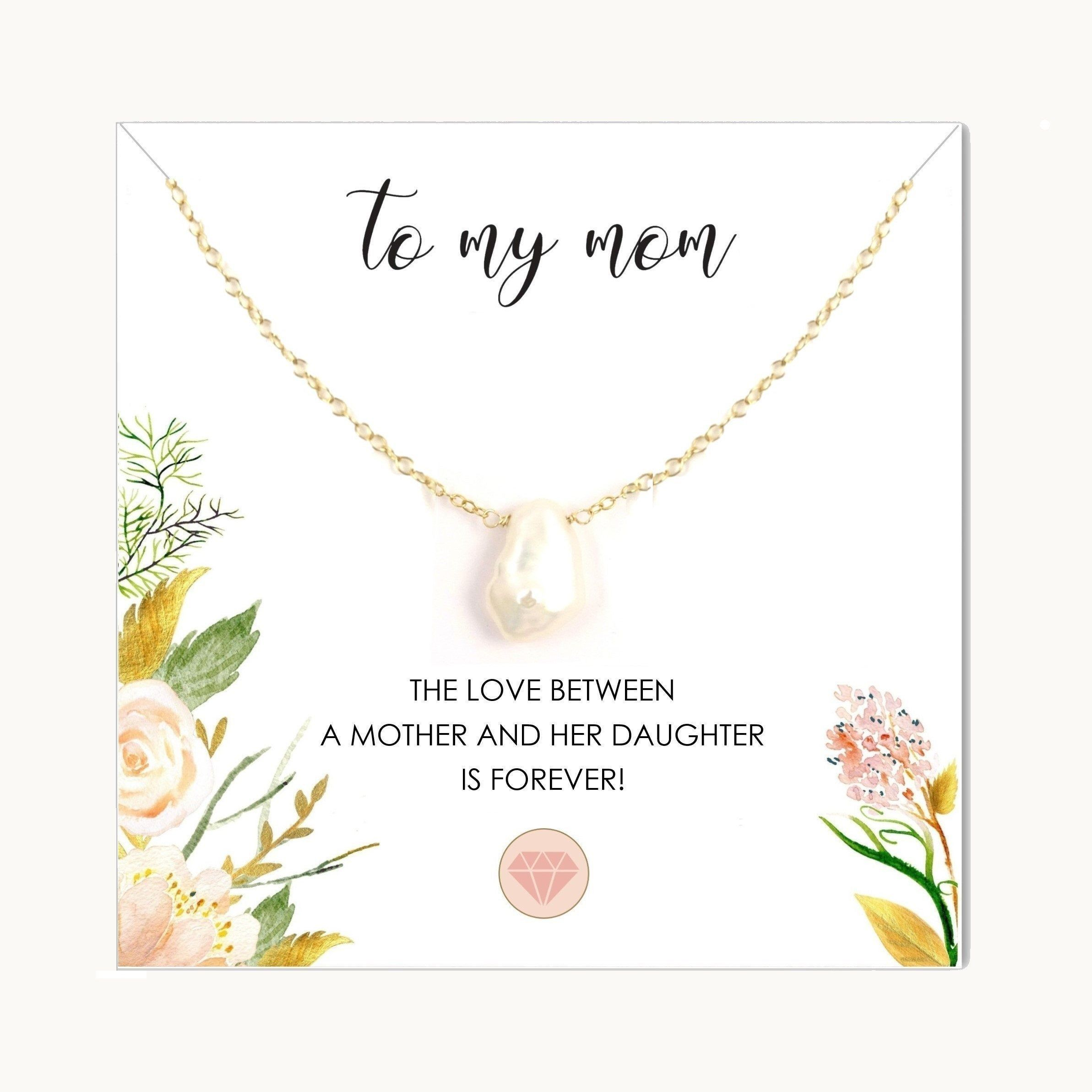 Sentimental Gifts for Mom from Daughter  Mother Jewelry with Card  Keshi Baroque Pearl Necklace in Sterling Silver or Rose Gold Filled
