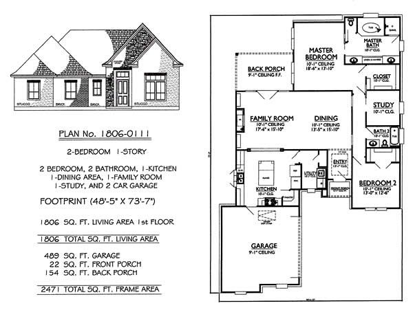 1 Story 2 Bedroom 2 Bathroom 1 Kitchen 1 Dining Room 1 Family Room 2 Car Garage 1806 Sq Feet House House Plans One Story House Plans Garage House Plans