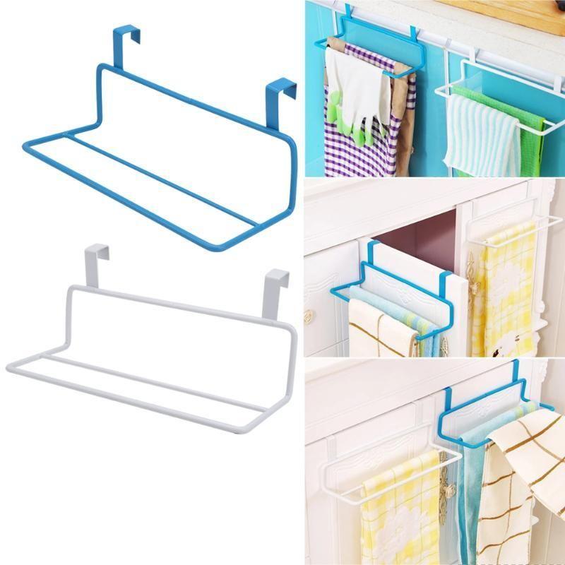 Over Door Bath Towel Rack Bar Shelf Organizer Hanger Home Kitchen Accessorie