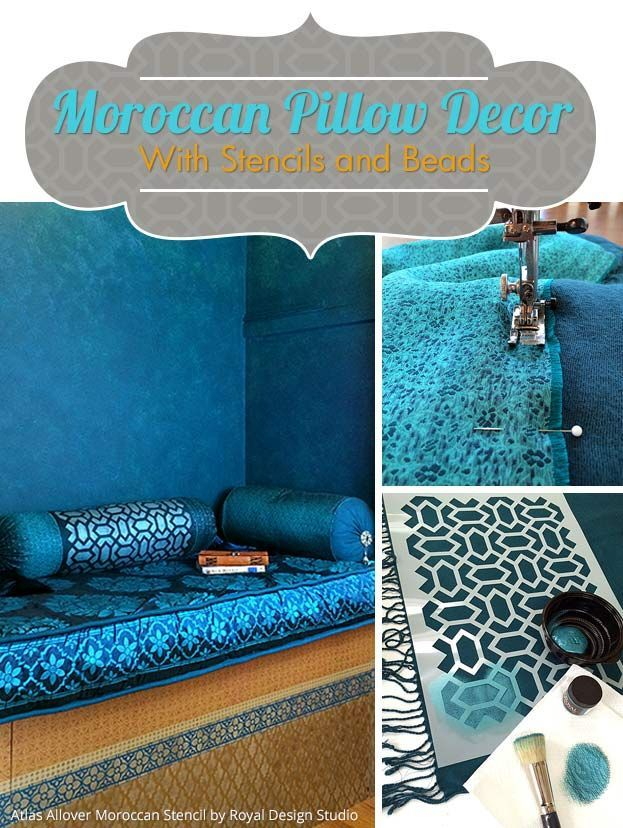 Moroccan Pillow Decor with Stencils and Beads - Painted Fabric ...