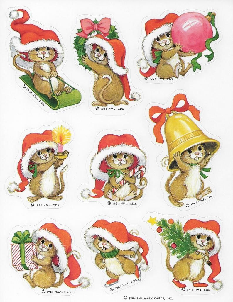 Vintage Single Sheet Of Hallmark Autocollants Stickers Labels Etsy In 2020 Christmas Mouse Sticker Label Sheets Sticker Labels