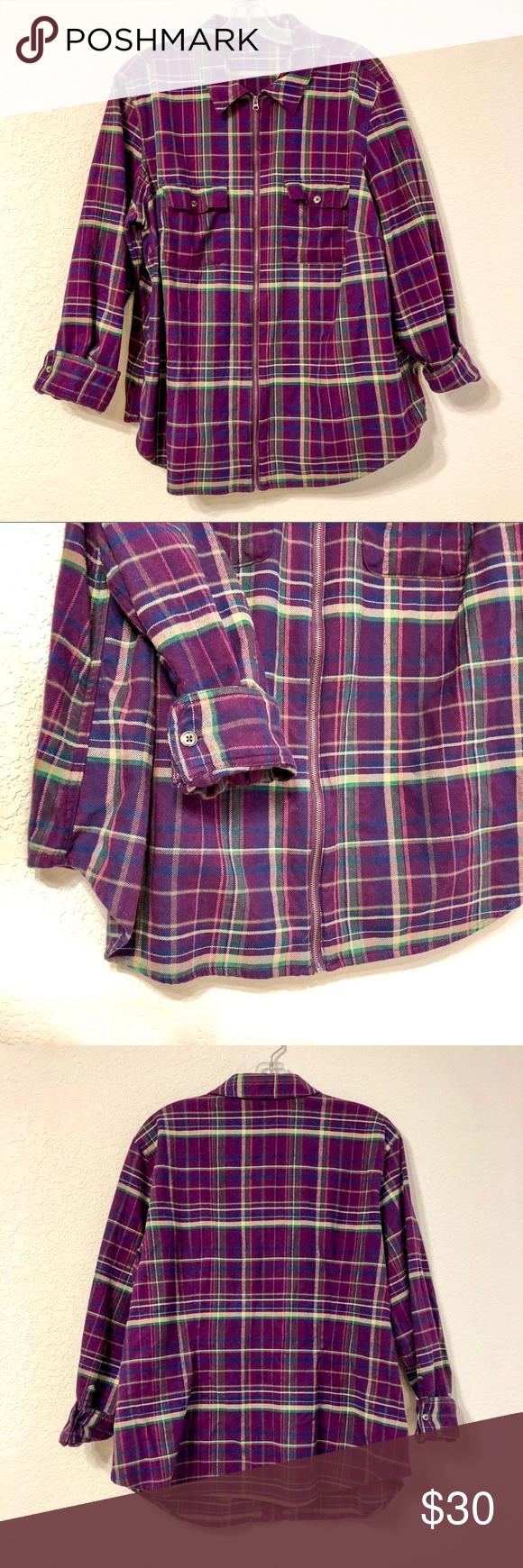 9ffd3f92a72 Chaps Raspberry Plaid Flannel Jacket NWOT Chaps Women s Plus Size Raspberry  plaid Flannel jacket. Thick