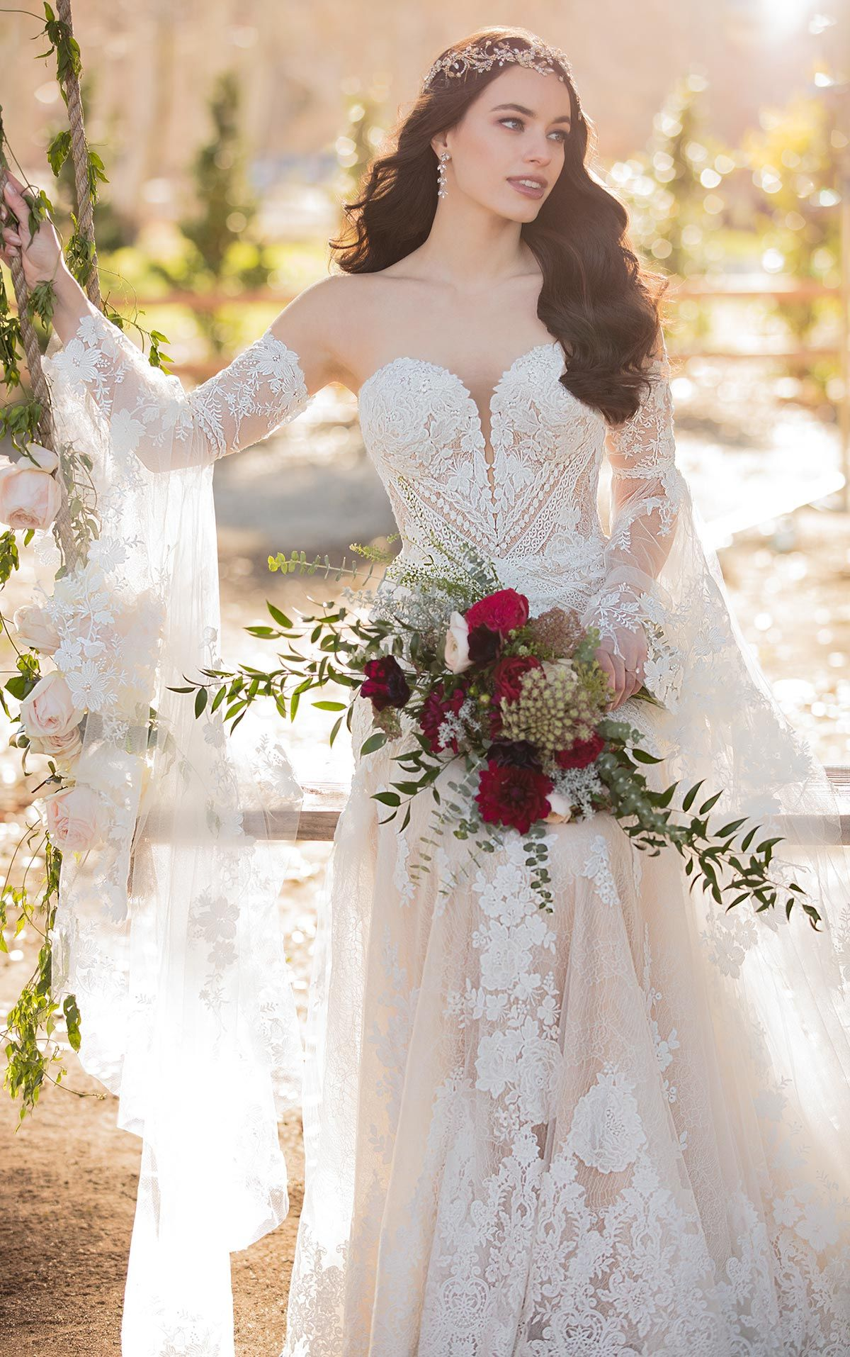 Bohemian Lace FitandFlare Wedding Dress with Detachable